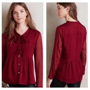 MEADOW RUE Clip Dot Tie Neck Bordeaux Blouse